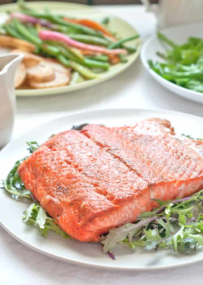 Salmon with Sauteed Spring Veggies and Leafy Greens