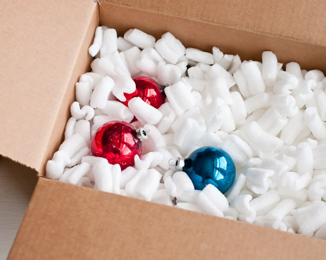 box with packing peanuts