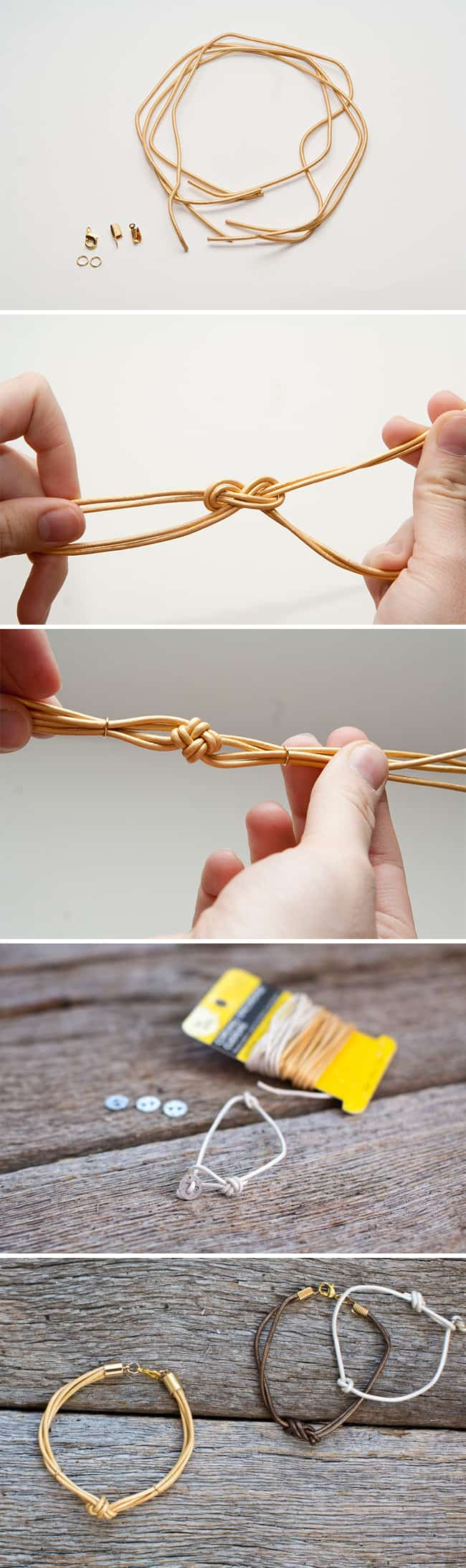 DIY Knotted Leather Bracelets | HelloGlow.co