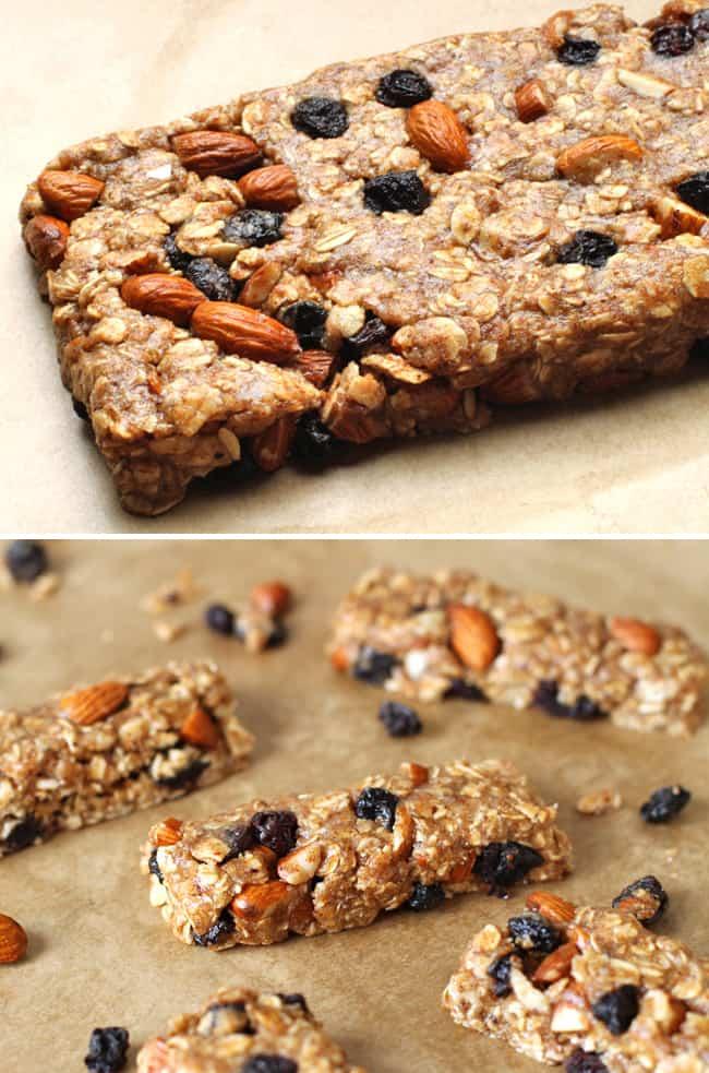 Gluten-Free No Bake Almond Blueberry Granola Bars - Hello Glow