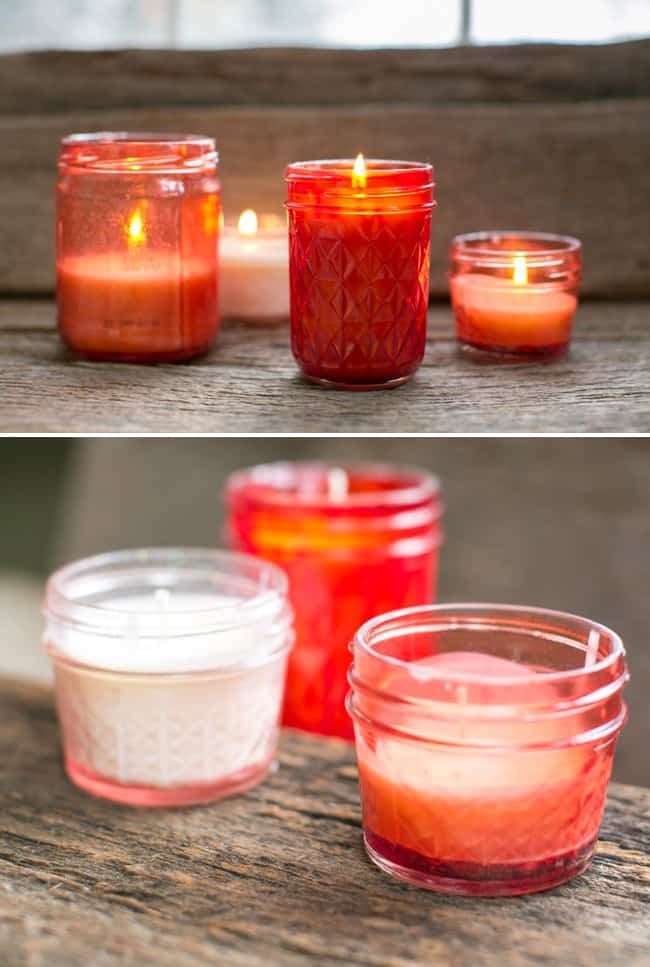 DIY Pink Mason Jar Candles | Hello Glow