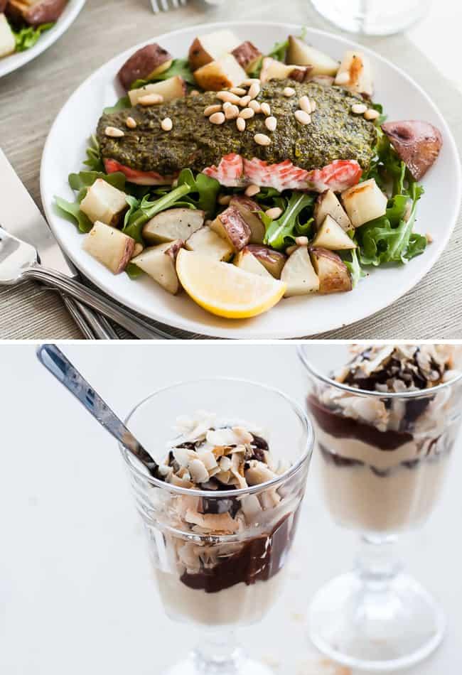 Dinner for 2: Pesto Baked Salmon + Coconut Ice Cream | Henry Happeend