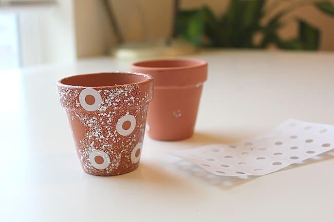 DIY Stencilled Mini Pots with Nail Polish   Hello Glow