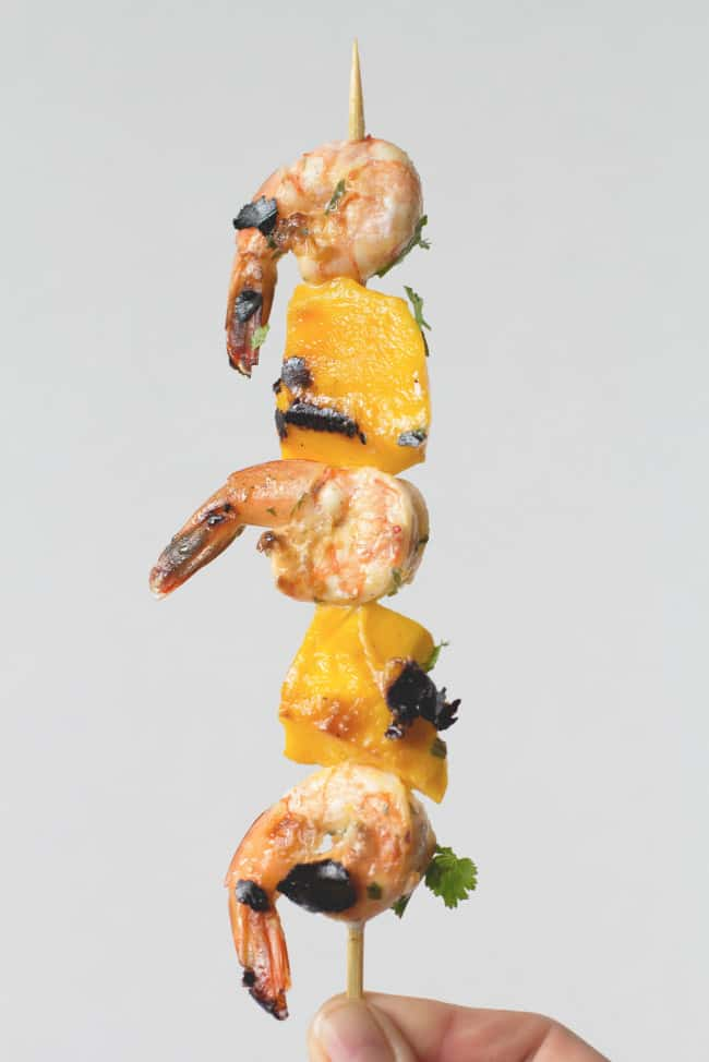 Sarah's Mango + Shrimp Skewers with Cilantro-Lime Toasts