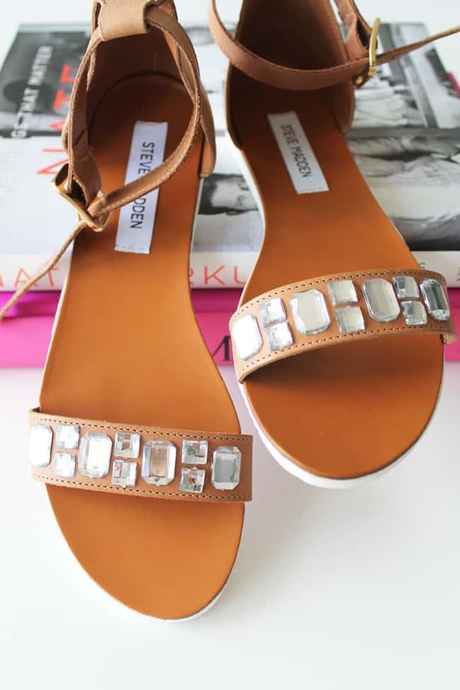 DIY Crystal Embellished Sandals | HelloGlow.co
