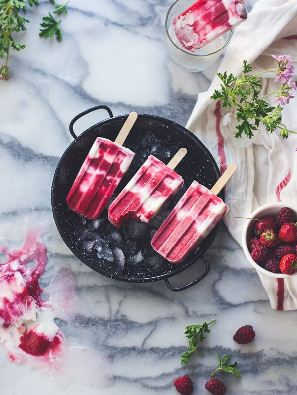 Tayberry, rose geranium and buttermilk popsicles