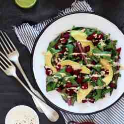 Beet Greens and Avocado with Creamy Tahini Dressing