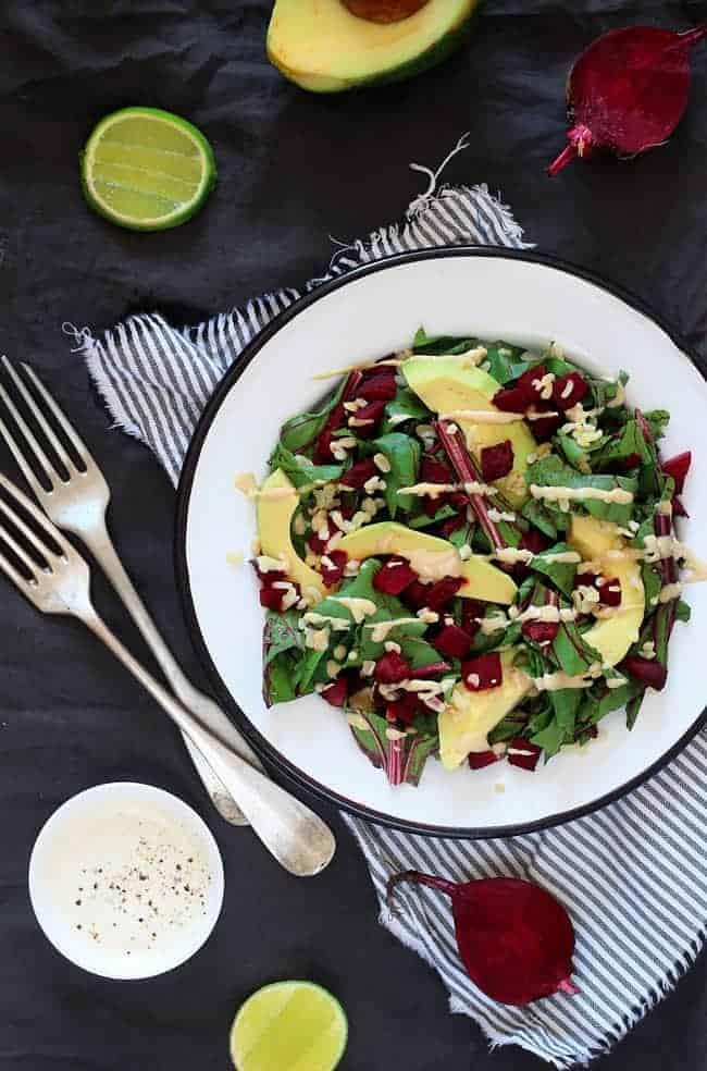 Beet Greens with Avocado and Creamy Tahini Dressing Recipe | 50 Avocado Recipes