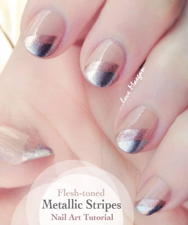 nailart-nude flesh toned metallic striped nails