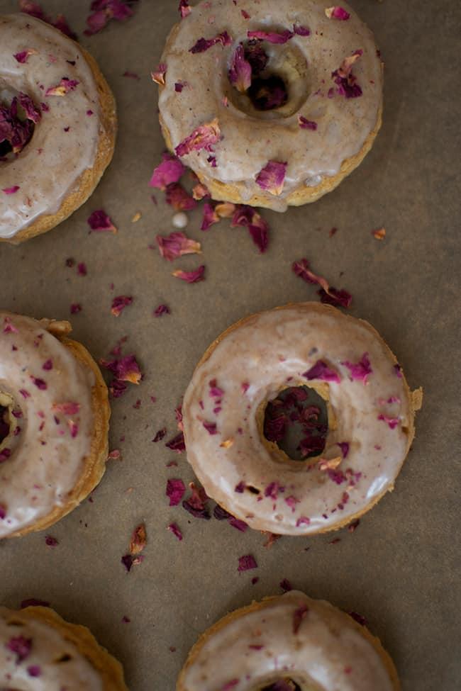 Cardamom & Rose Petal Baked Donuts