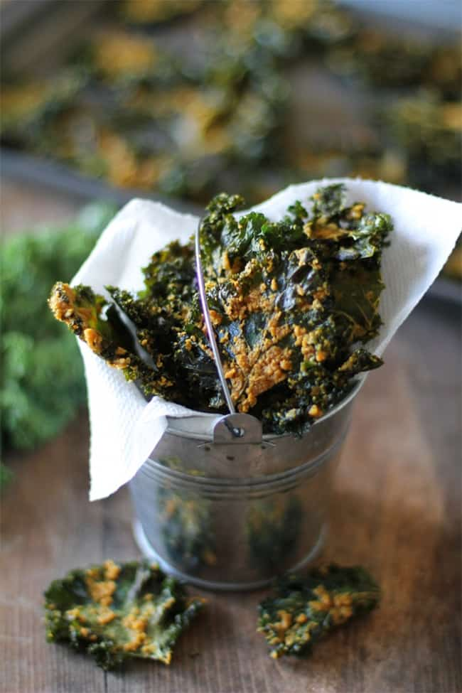 Nacho cheese kale chips by The Roasted Root   30 Healthy Chip Recipes