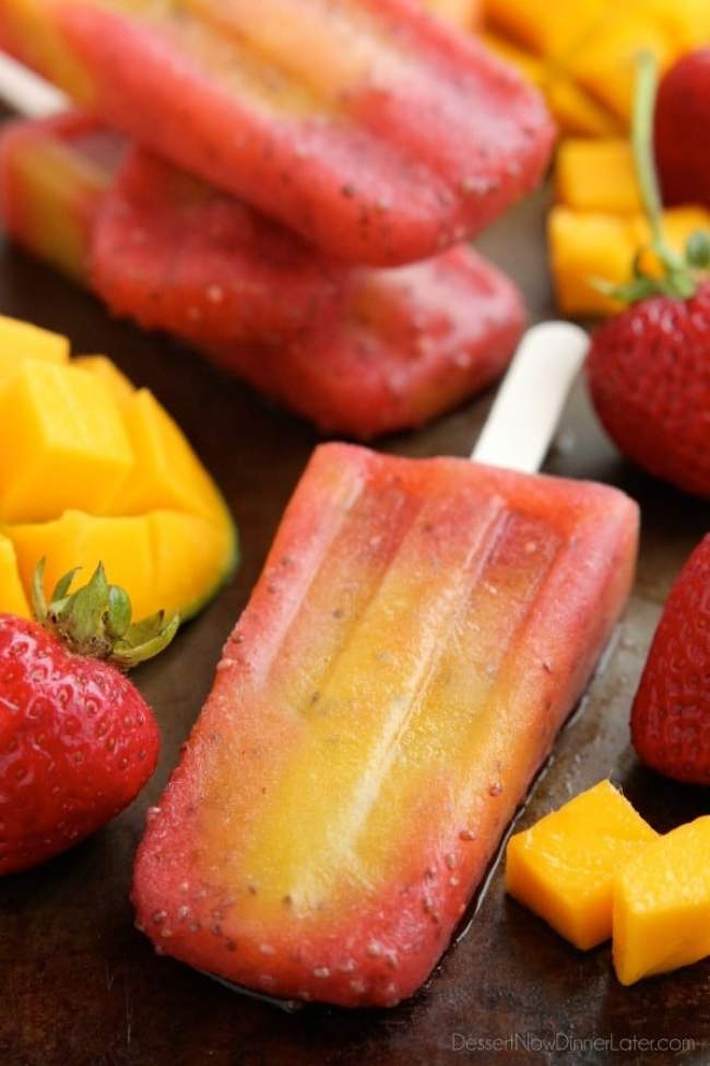 Strawberry Mango Chia Popsicles by Dessert Now, Dinner Later | 15 Homemade Popsicles
