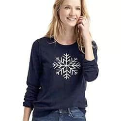 Snowflake intarsia crewneck sweater