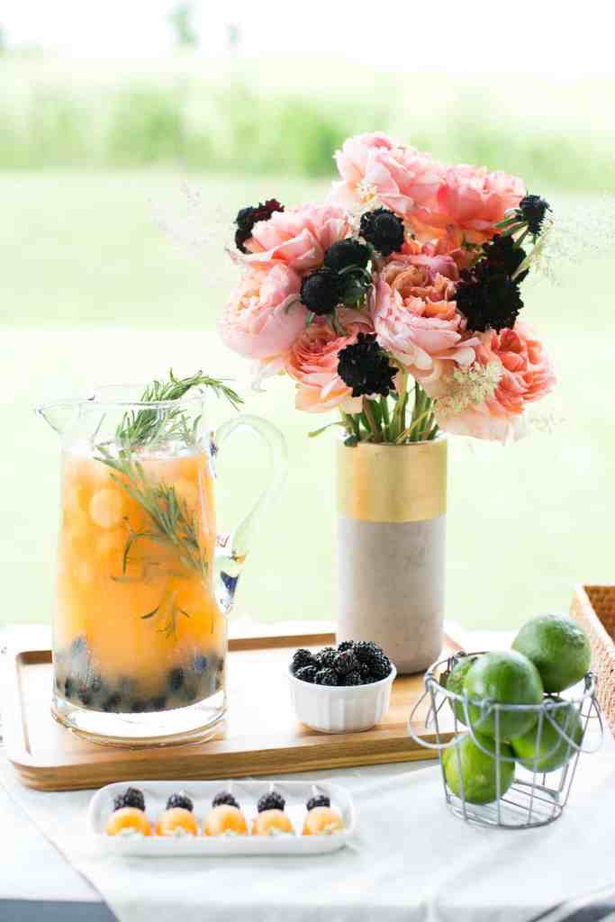 Cantaloupe Blackberry Infused Water with Rosemary