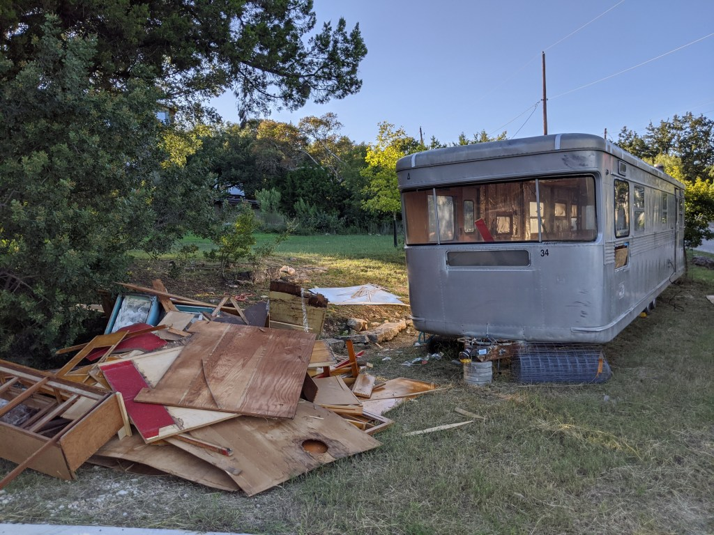 Demolishing a 1955 Spartan during trailer renovation in Austin, Texas, to convert to trailer therapy office.
