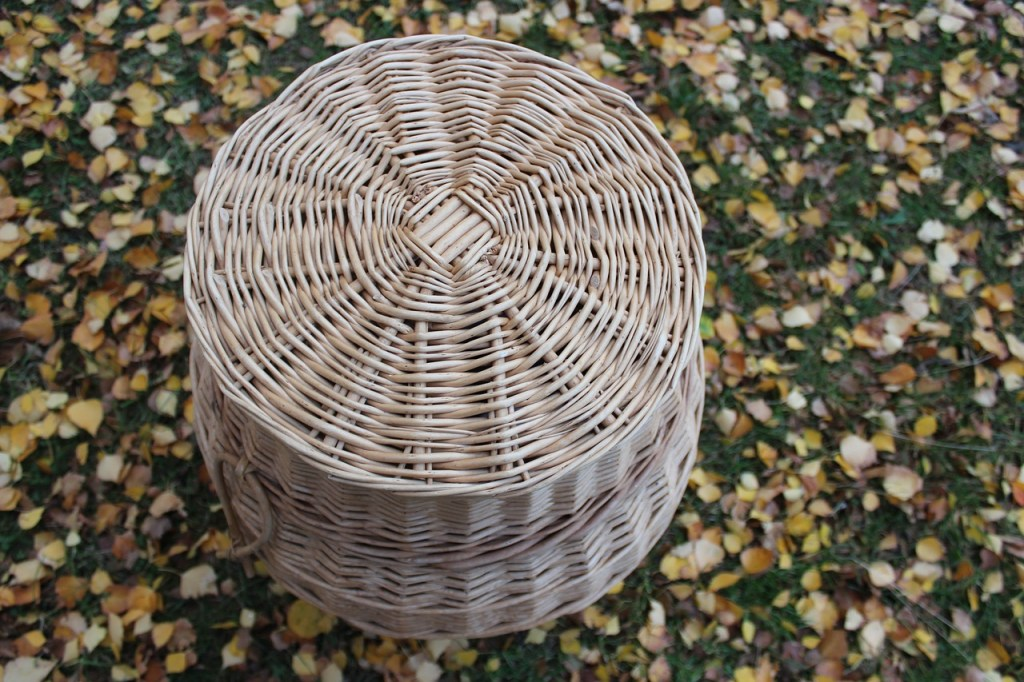 tall light brown basket in grass and autumn leaves