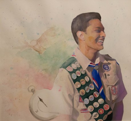 """""""An Eagle Scout"""" {2017, 16½ in x 15½ in, Mixed Media}"""