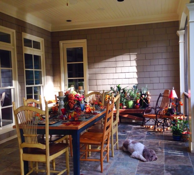 My dining terrace decorated for Halloween www.roomsrevamped.com