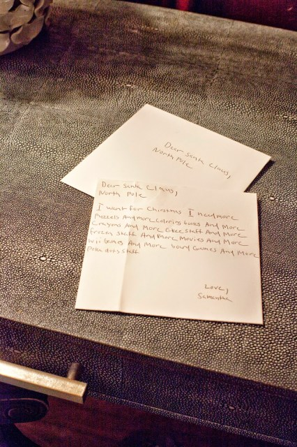 letter to Santa on shagreen desk roomsrevamped.com