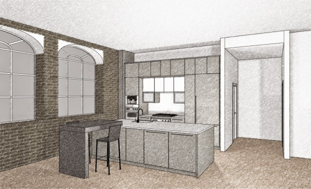 CAD drawing of the Poggenpohl kitchen by John Coulter