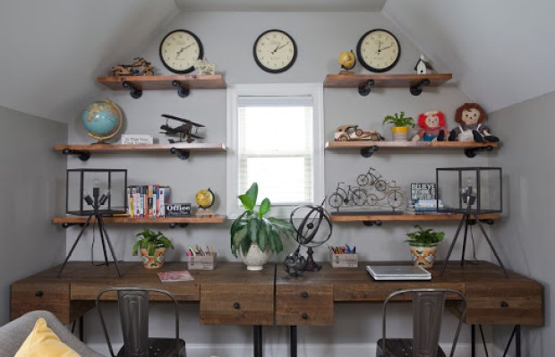 Industrial design study area. Designed by Robin LaMonte of Rooms Revamped Interior Design