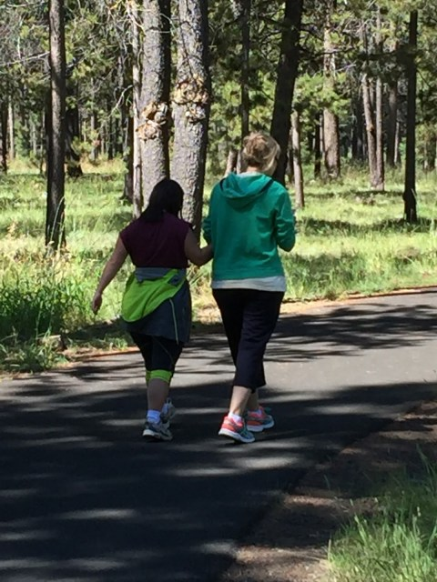 Walking on one of the many trails at Sunriver.