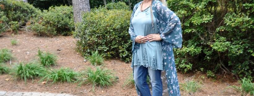 Floral Kimono: Disrupt Aging-Hello I'm 50ish
