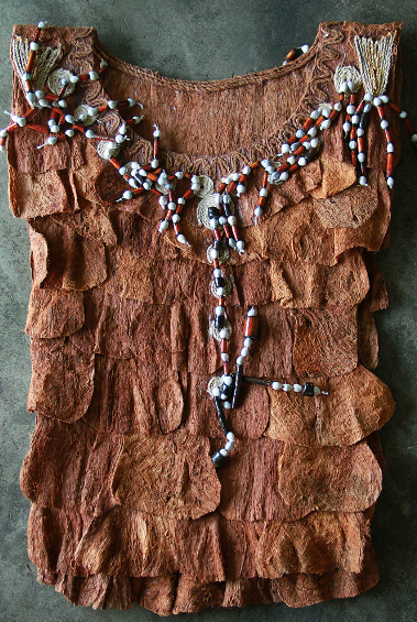 The Salakak Dayak women's vest with elegant beads combines ipuh and bamboo pieces