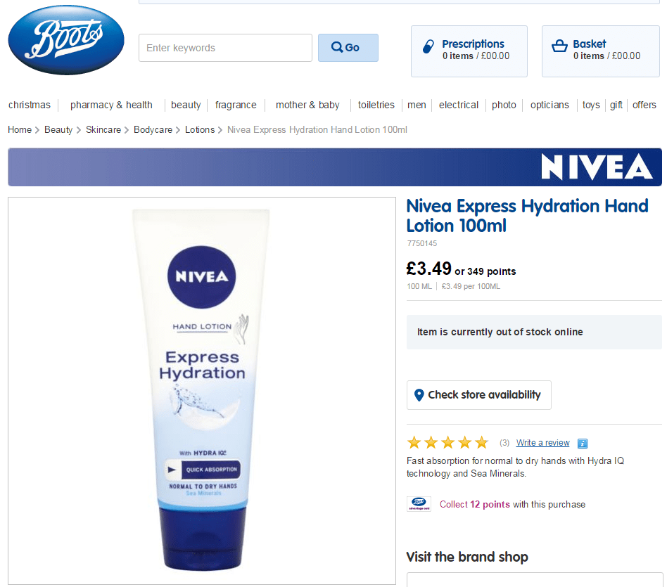 Boots - Nivea Hand Cream
