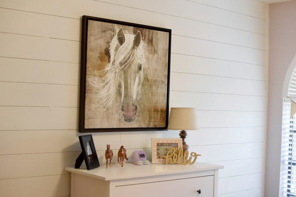 little girl chic horse room design, modern toddler room