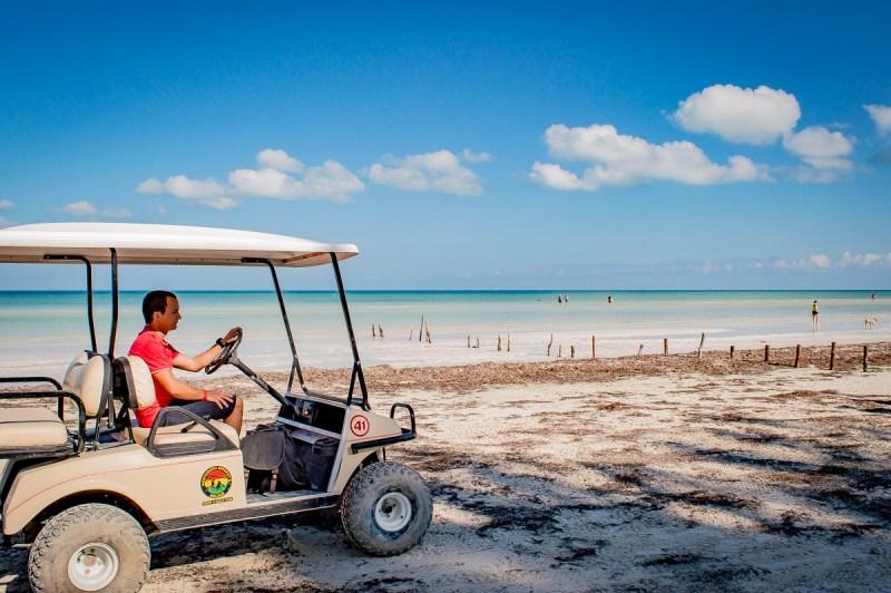 voiturette sur la plage à holbox