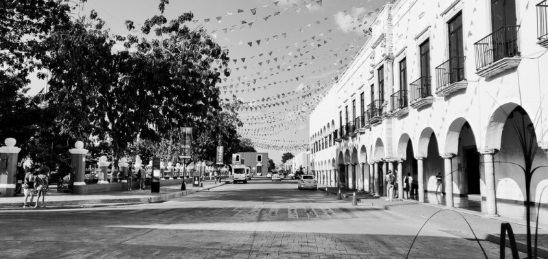 place de Valladolid en noir et blanc