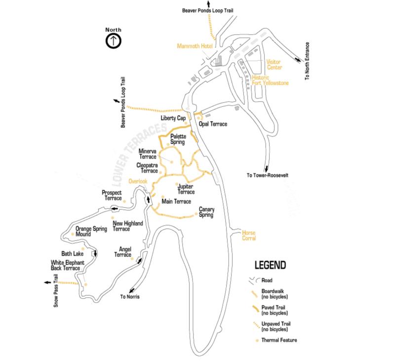 carte du site de mammoth hot springs