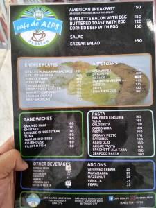 cafe de alps menu