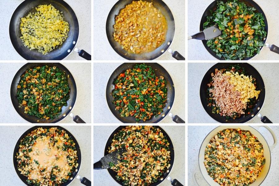 Kale Casserole nutritarian recipe no oil no added salt step by step instructions Dr Greger whole food plant based engine 2