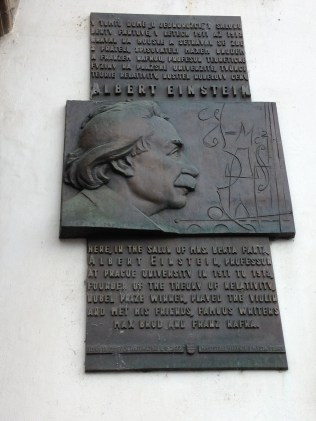Plaque dedicated to Einstein in Old Town Square, Prague.