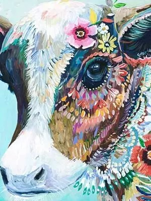 Full Drill 5D DIY Diamond Painting, Colorful Cow Embroidery Cross Stitch Crafts for Home Restaurant Decor