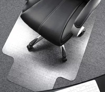 Floortex Polycarbonate Chair Mat with Lip for Plush Pile Carpets