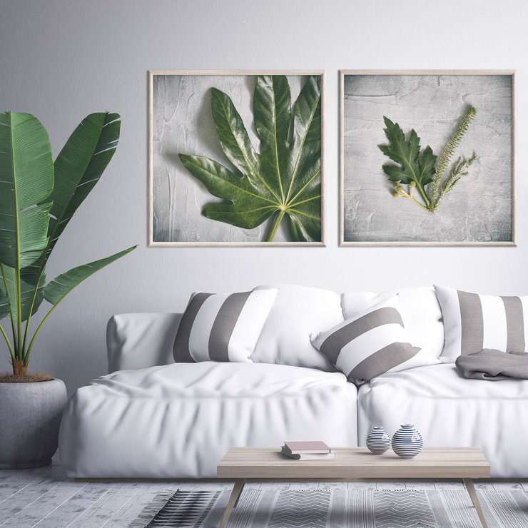 Green & Grey Photography Print Set | 60x60cm | Collection ... on Wall Sconces For Greenery Decoration id=48084