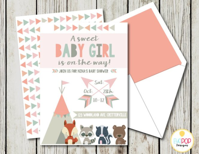 Woodland Baby Shower Invitation Forest Animals Tribal Invite Pink Grey