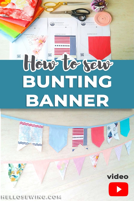 Scrap Fabric Bunting Banner - Free Sewing Pattern with 3 Shapes