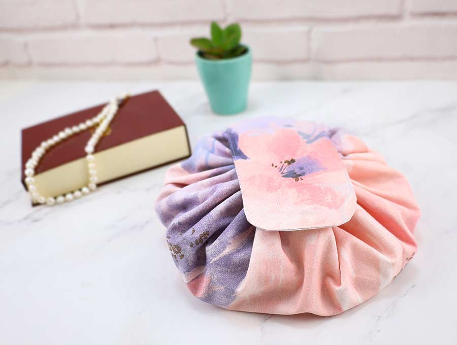Open Flat Drawstring Makeup Bag Free Sewing Pattern