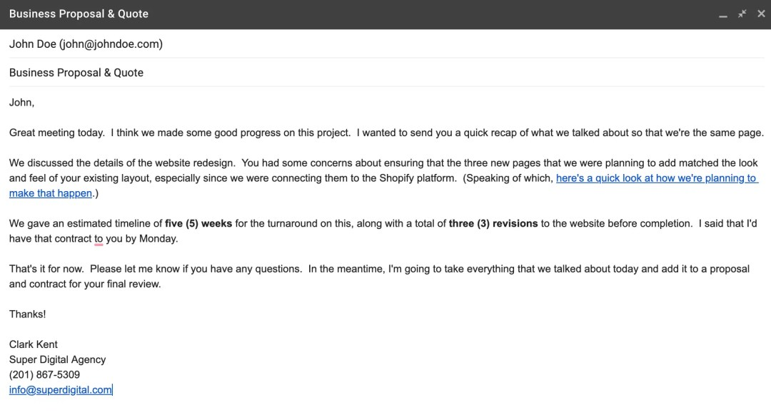 """An example of the """"Recap"""" email."""