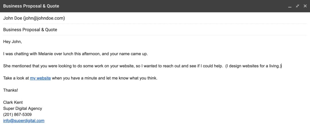 """An example of the """"Short and Sweet"""" email."""