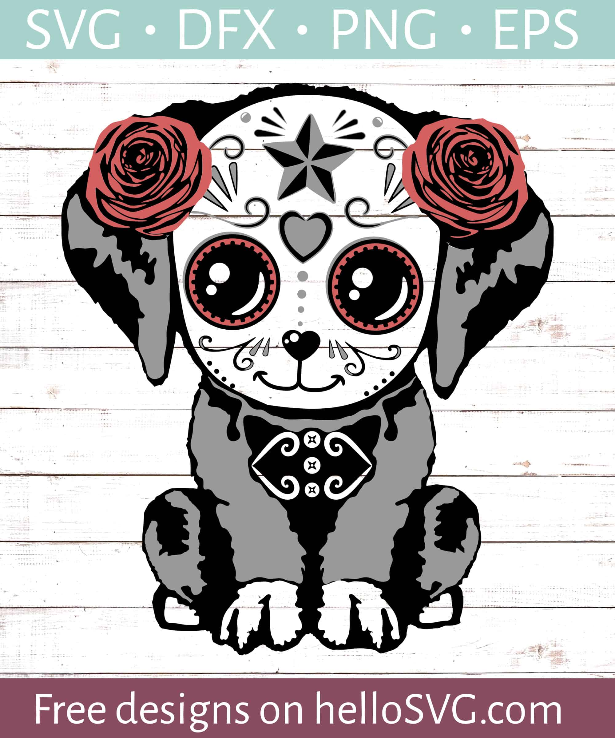 Download Sugar Skull Dog #1 SVG - Free SVG files | HelloSVG.com