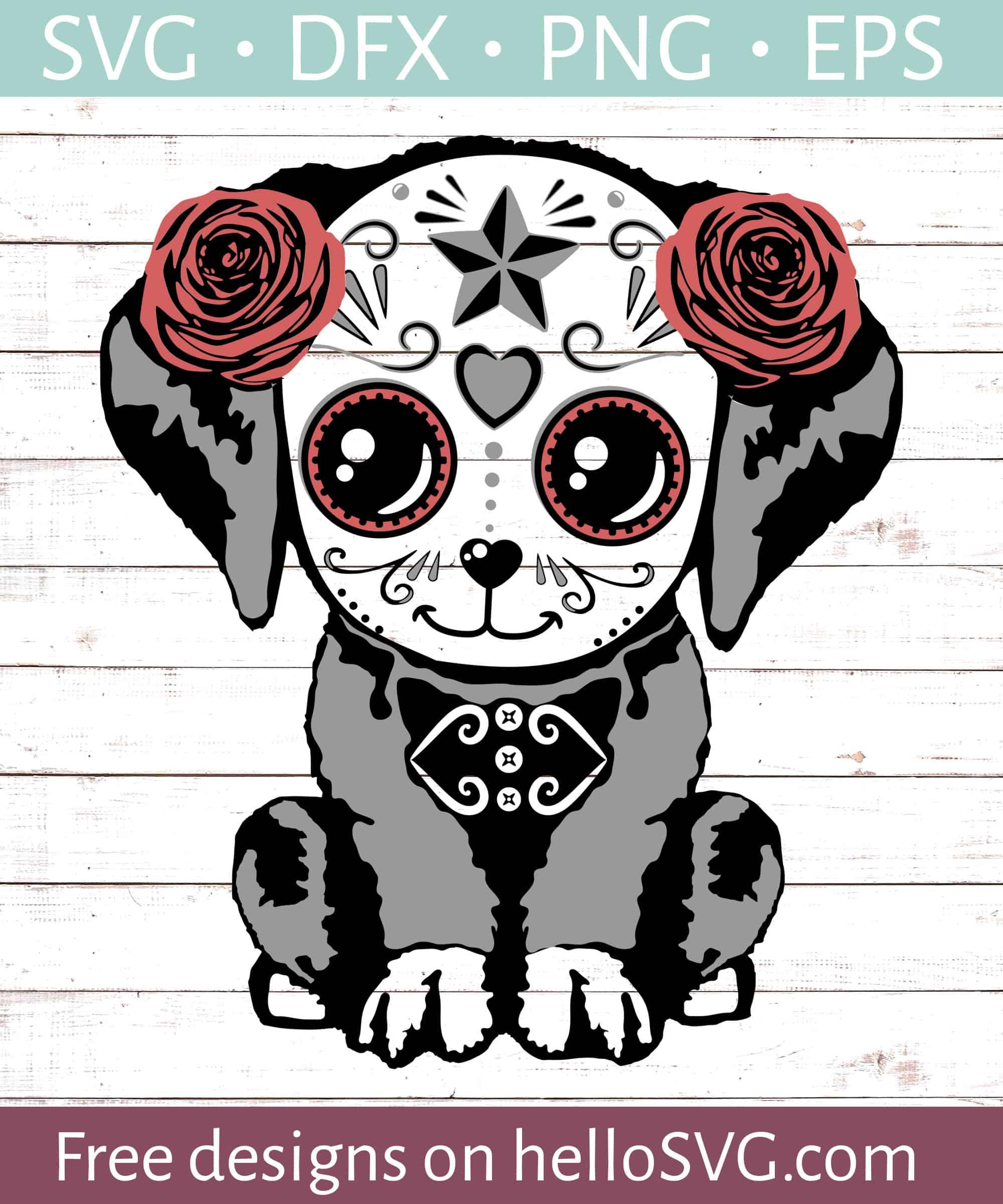 Download Sugar Skull Dog #1 SVG - Free SVG files | HelloSVG.com