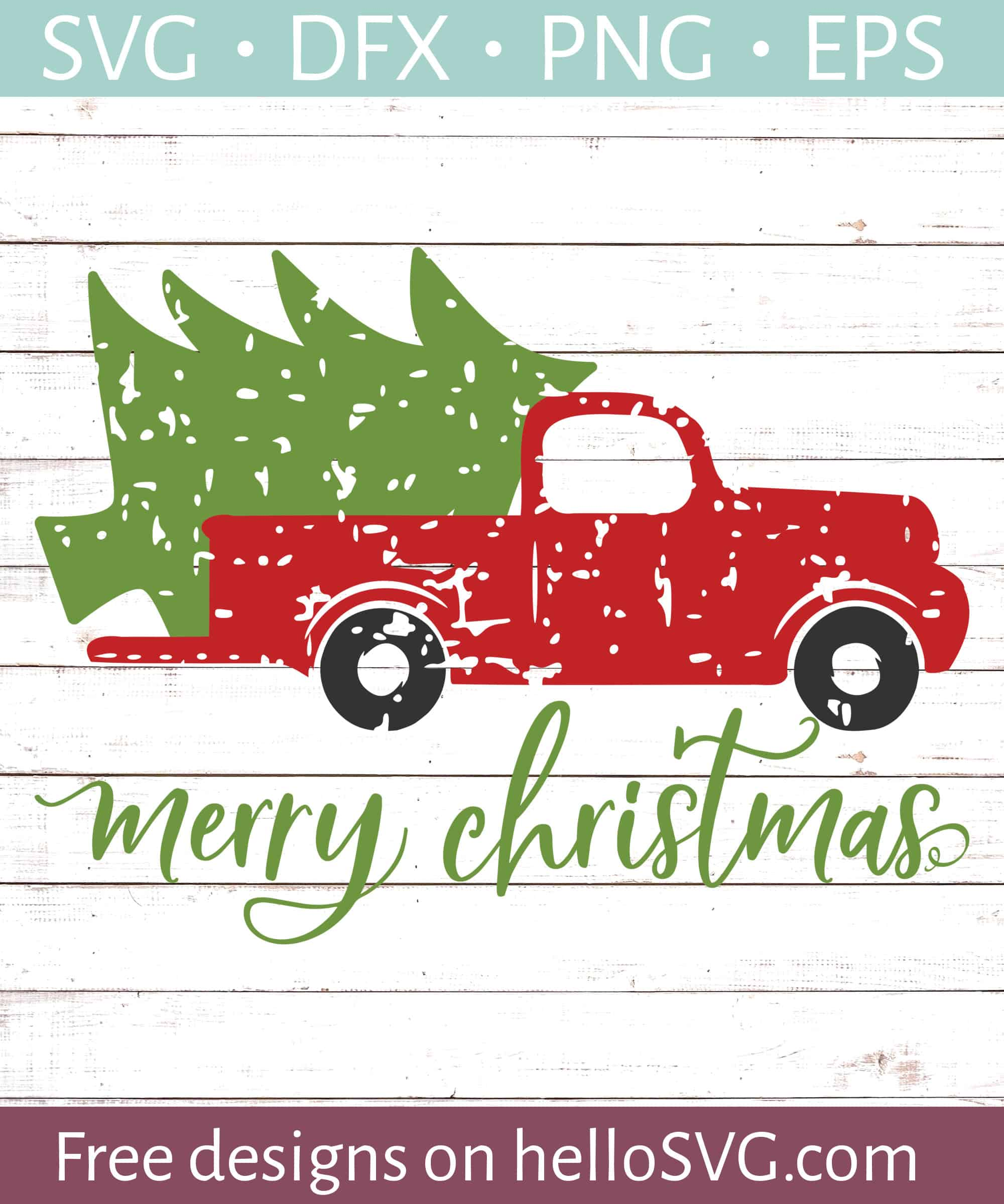 Christmas Tree Truck Svg Free.Merry Christmas With Vintage Truck Svg Free Svg Files