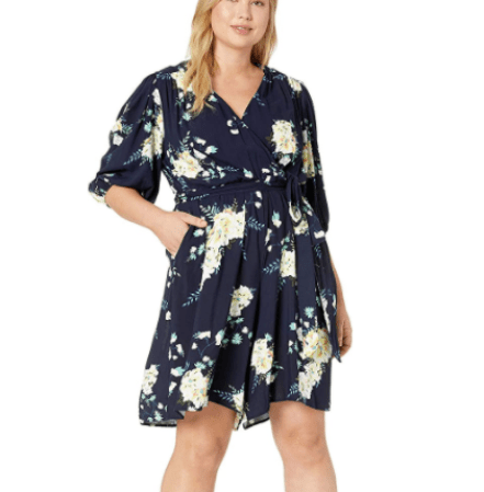 FeelinGirl Women's Plus Size Cute V Neck Floral Printed Jumpsuit XL-4XL