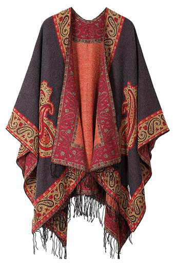 KirGiabo Blanket Shawl red and black pattern