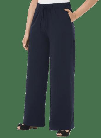 Ulla Popken Wide-leg Drawstring Cotton Stretch Knit Pants